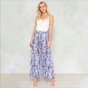 NWT Nasty Gal Tier's the Deal Floral Chiffon Pants